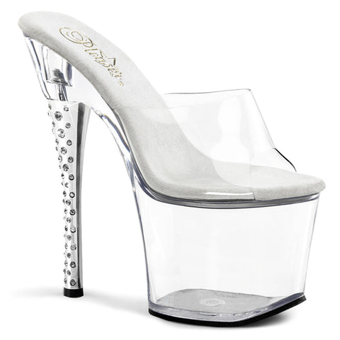 Diamond Heel Clear Platform Slide Heels