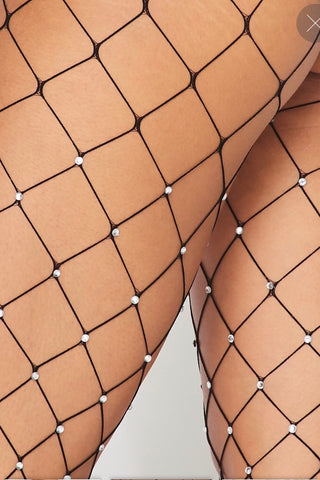 Black Rhinestone Diamond Fishnet Tights