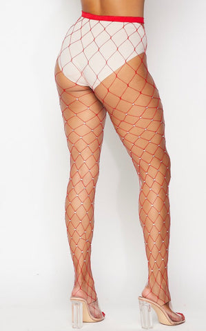 Red Rhinestone Diamond Fishnet Tight