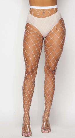 White Rhinestone Diamond Fishnet Tights