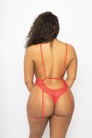 Sheer Open Back Bodysuit with Attached Leg Garter Straps