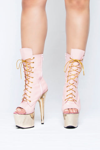 Pink & Gold lace up ankle boots - The Beauty Cave Boutique