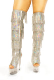 Dream Collection sequin fringe thigh heels - The Beauty Cave Boutique