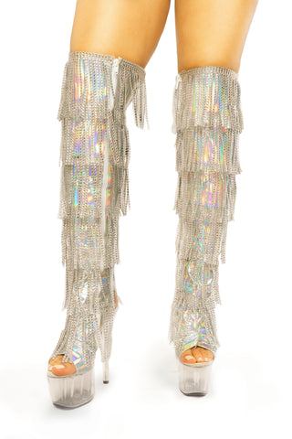 Dream Collection sequin fringe thigh heels