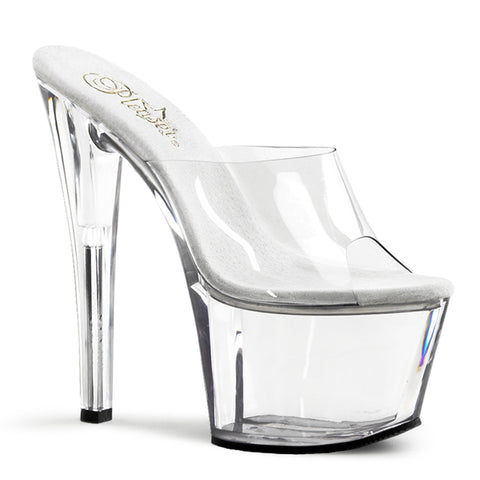 Clear Short Platform Slide Heels