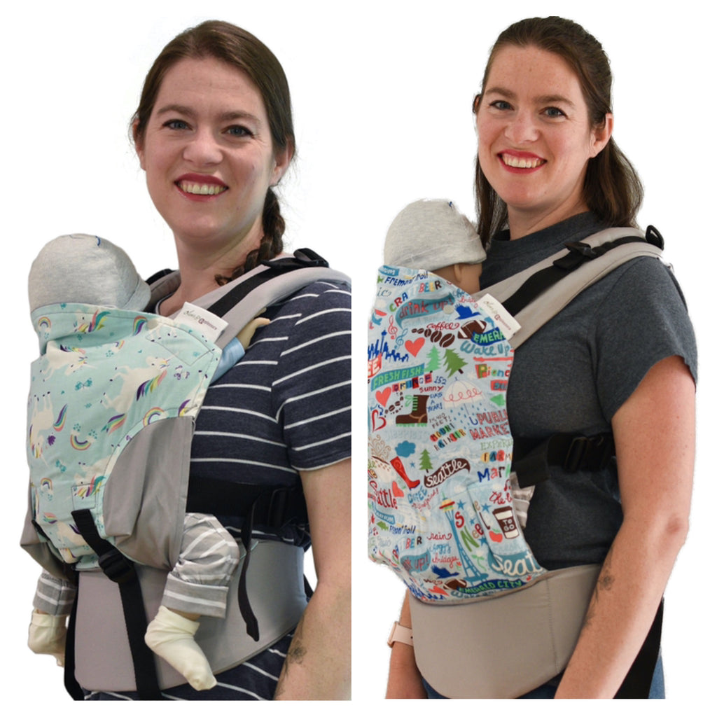 Side by side comparison of the same mother wearing a newborn in an Olives & Applesauce Olympia and an Olives and Applesauce Hydrogen carrier