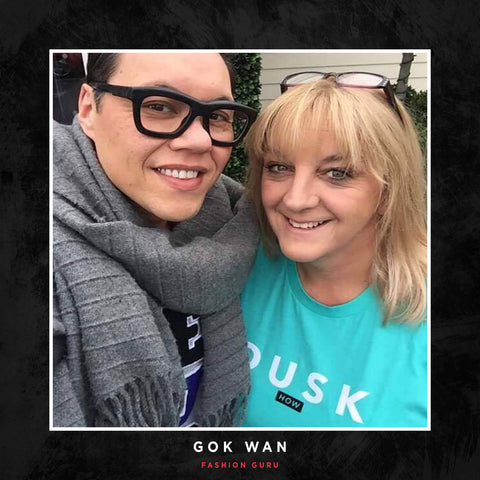 Gok Wan posing with a DUSK Empire tee.
