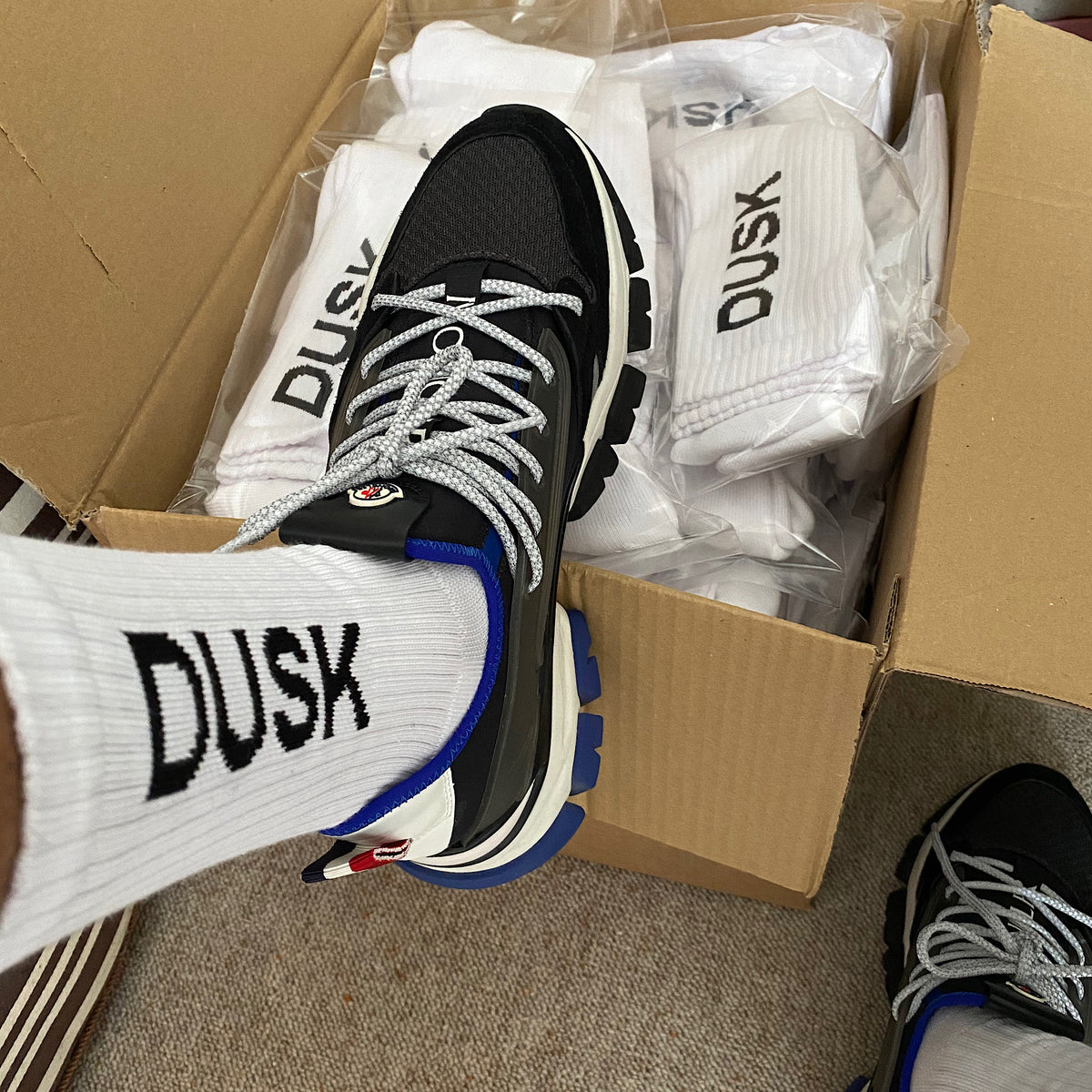 DUSK Empire Logo Socks White Pack Of 2