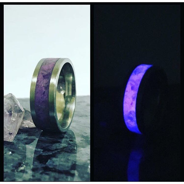 Glow In The Dark Ring, with Stone Inlay