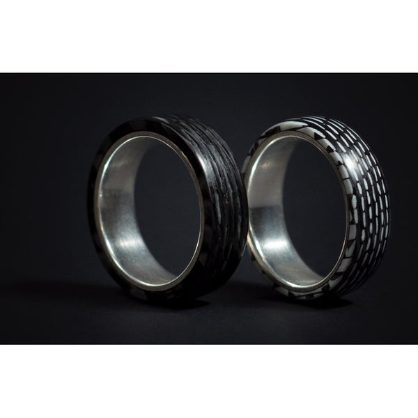 Silver Lined Carbon Fiber Ring