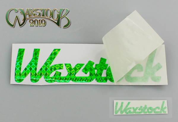 Waxstock 2019 vinyl car sticker (green holo)