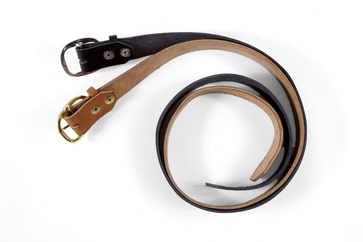 Handmade leather belts, black with silver buckle, brown with brass buckle