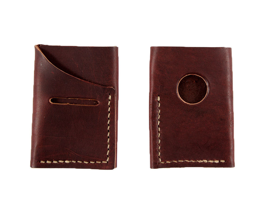 Handmade, American minimalist wallet in burgundy brown