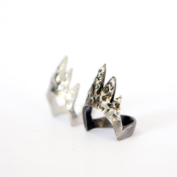 Distressed sterling silver ring - agora concept store