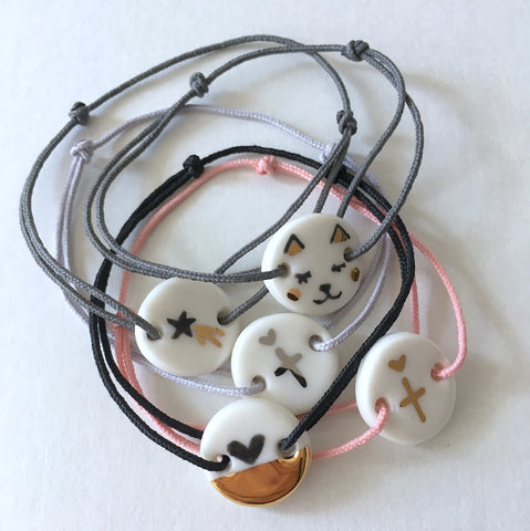 Simply Lovely porcelain bracelet with cute patterns .. bracelet en porcelaine Simply Lovely avec adorables motifs