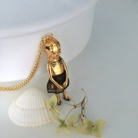 Gold plated bronze doll necklace: Natacha..Collier poupée Natacha en bronze plaqué or