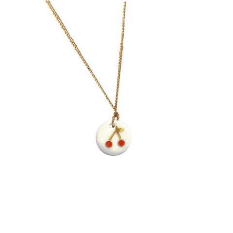 Cherries porcelain necklace .. Le Temps Des Cerises- collier en porcelaine