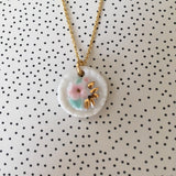 white porcelain pendant with pink, gold and min flowers on vermeil chain