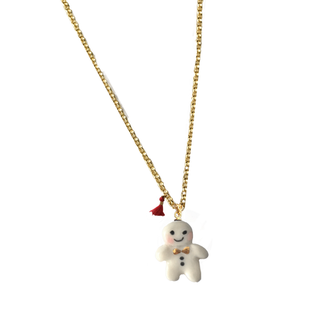 Miniature porcelaine gingerbread man necklace .. collier mini bonhomme de pain d'épice en porcelaine