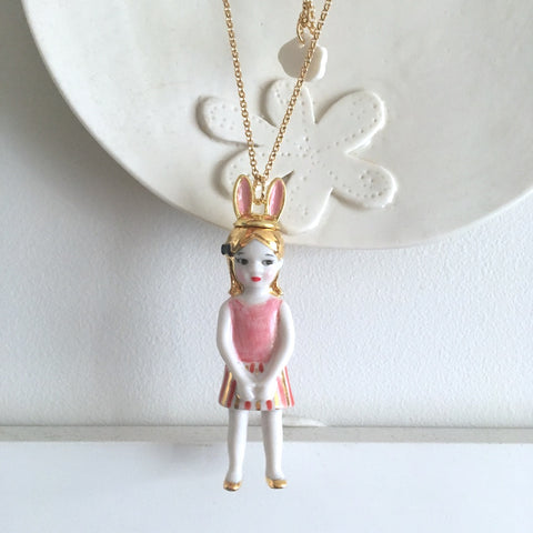 Mademoiselle Lapin: porcelain doll necklace  .. Mademoiselle Lapin: sautoir poupées en porcelaine