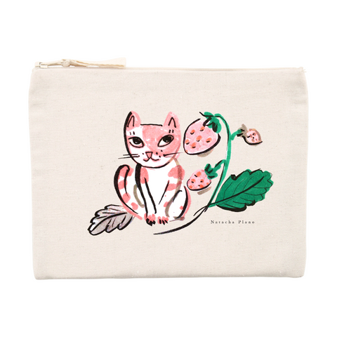 Pink cat pouch .. Pochette chat rose