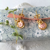 Pink tiny flowers porcelain earrings .. Mini Boucles d'oreilles fleurs roses  en porcelaine