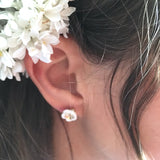 Sakura-miniature porcelain earrings .. Mini Boucles d'oreilles Sakura en porcelaine