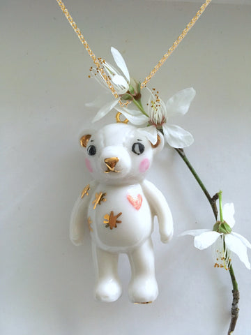 Teddy Bear Porcelain necklace -pink heart .. Teddy sautoir en porcelaine - coeur rose