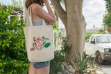 Pink cat and strawberries tote bag .. Totebag chat rose et fraises