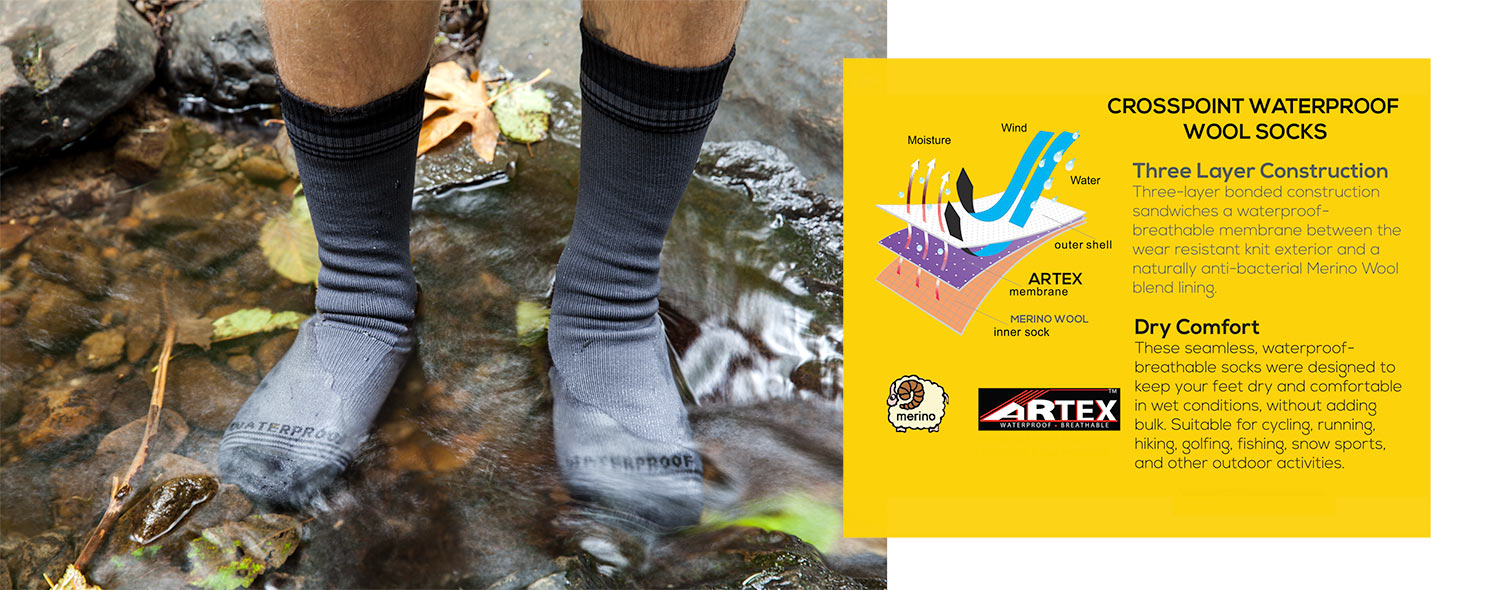 Crosspoint Waterproof Socks come with Merino Wool lining or Coolmax lining