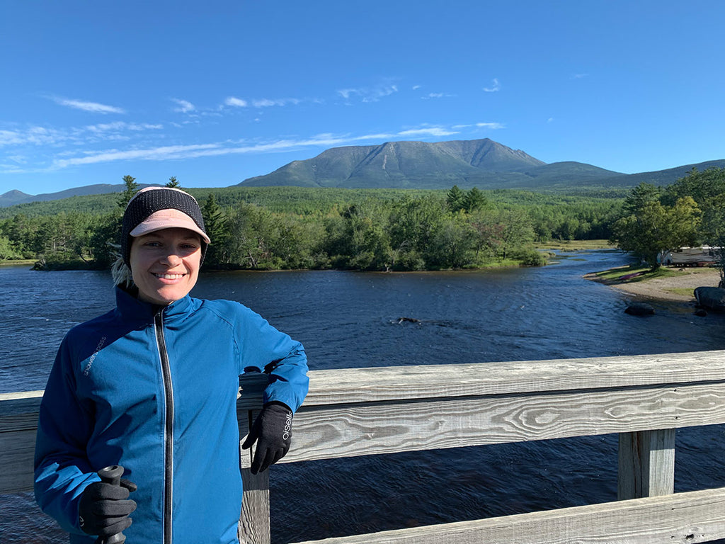 My final day on the trail, crossing Abol Bridge before climbing Katahdin (the mountain in the background)