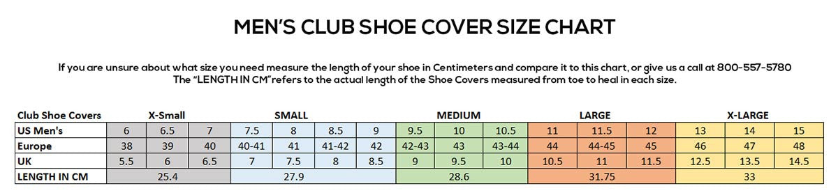 Men's Club Shoe Cover Size Chart