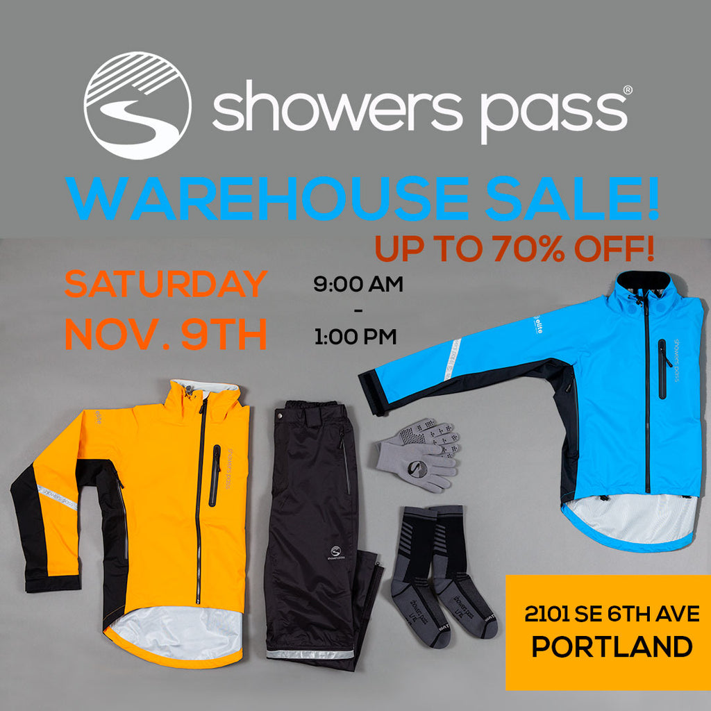 Showers Pass Warehouse Sale is Saturday, November 9th, 2019