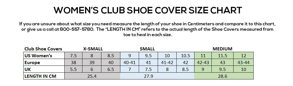 Women's Club Shoe Cover Size Chart