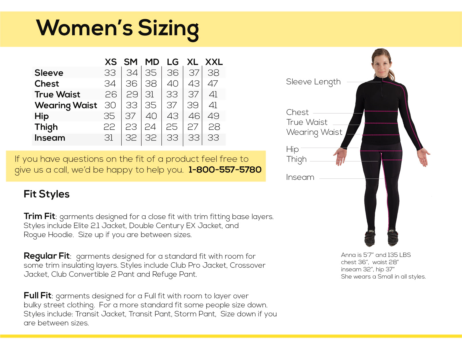 Sizing Information - Showers Pass