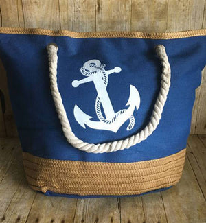 Personalized Denim Anchor  Beach Bag