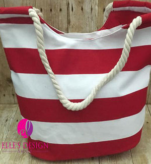 Personalized Red Striped Beach Tote W/Rope Handle