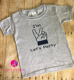 I'm 2 Let's Party - Peace Sign Toddler Birthday T-shirts