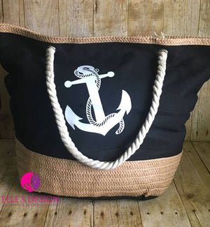 Personalized Black Canvas Beach Bag