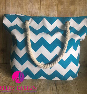 Teal Chevron Rope-Handled Tote/Beach Bag