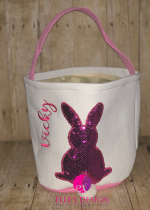 Flip-Sequin Personalized Bunny Tail Easter Basket