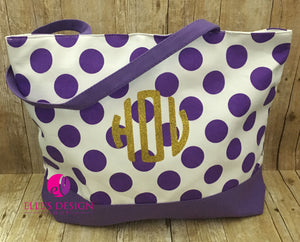 Monnogrammed Canvas Polka Dot Tote/Beach Bag