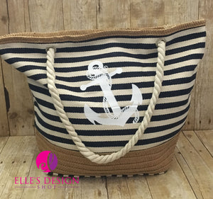 Personalized Anchor Striped Navy Beach Bag