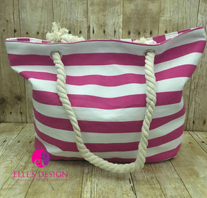 Personalized Pink Stripe Canvas Beach Tote