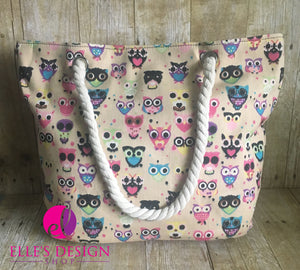 Owl Tote/Beach Bag  in Light Tan/ Black