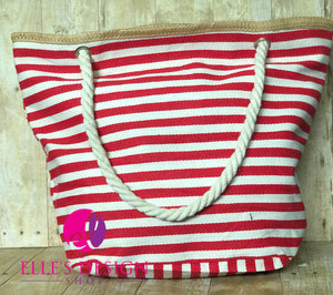 Red Striped Anchor Personalized Beach Bag