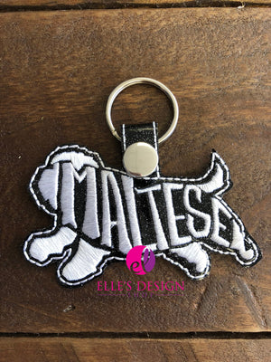 Maltese Embroidered Keychain