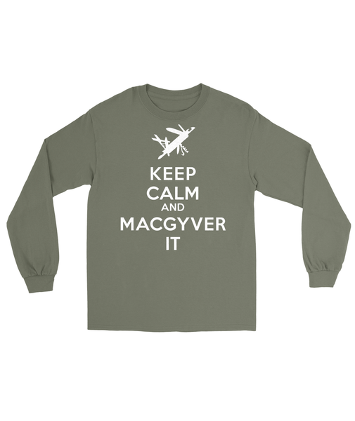 Keep Calm and MacGyver T-Shirt Mens Long Sleeve Tee