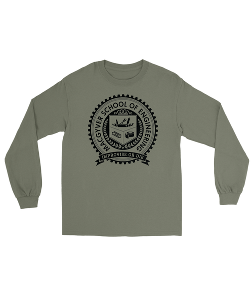 MacGyver School of Engineering T-Shirt Men's Long Sleeve Tee Military Green