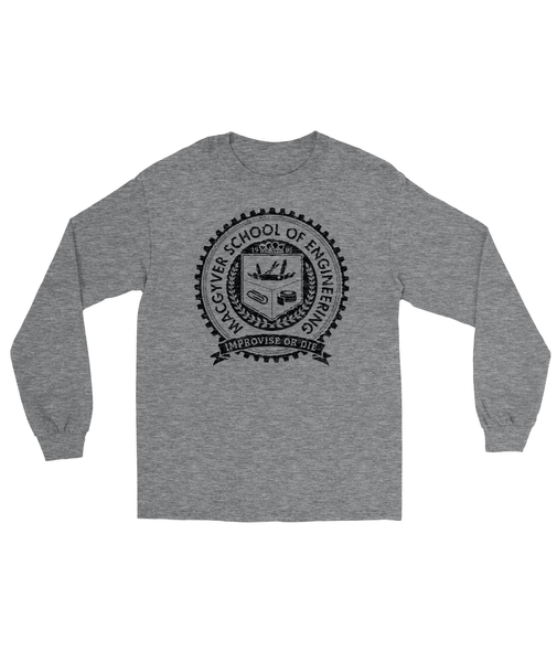 MacGyver School of Engineering T-Shirt Men's Long Sleeve Tee Dark Heather Gray